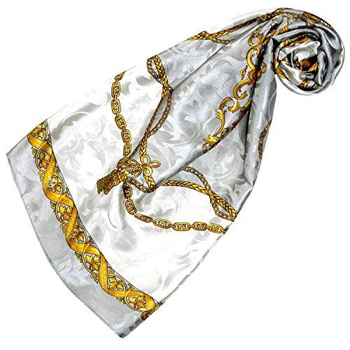 Lorenzo Cana - Luxus Seidentuch Damast 100% Seide gewebt bedruckt 88 cm x 88 cm opulentes Barockmuster Tuch Halstuch grau weiss gold 89179