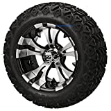 14' VAMPIRE Machined/Black Aluminum Wheels and 23x10-14' DOT All Terrain Golf Cart Tires Combo - Set of 4