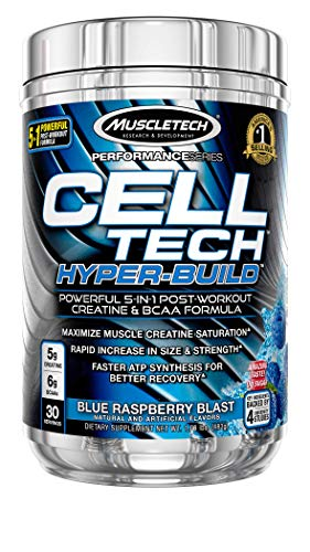 Creatine + BCAA Post Workout Electrolyte Powder | MuscleTech Cell-Tech Hyperbuild | Post-Workout Recovery Drink with Creatine Monohydrate + BCAAs Amino Acids | Blue Raspberry Blast (30 Servings)
