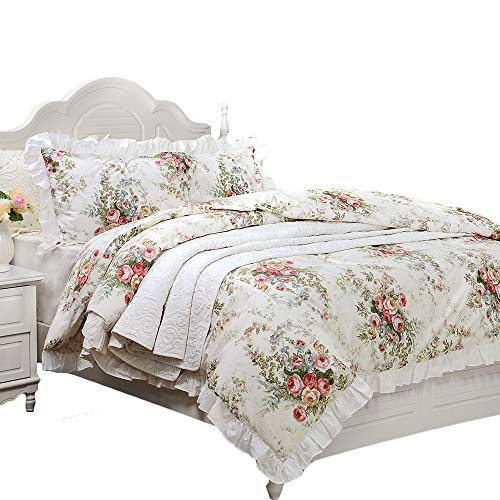 FADFAY French Country Bedding King Size (106×92 inch) Farmhouse Duvet Cover Vintage Rose Floral 100% High Qualtiy Cotton Super Soft Hypoallergenic with Hidden Zipper Closure 3 Pieces - No Comforter