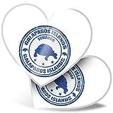 Impresionante 2 pegatinas de corazón de 15 cm – Galápagos Islas Turtle Ecuador divertidos calcomanías para portátiles, tabletas, equipaje, libros de chatarra, frigorífico, regalo genial #4439