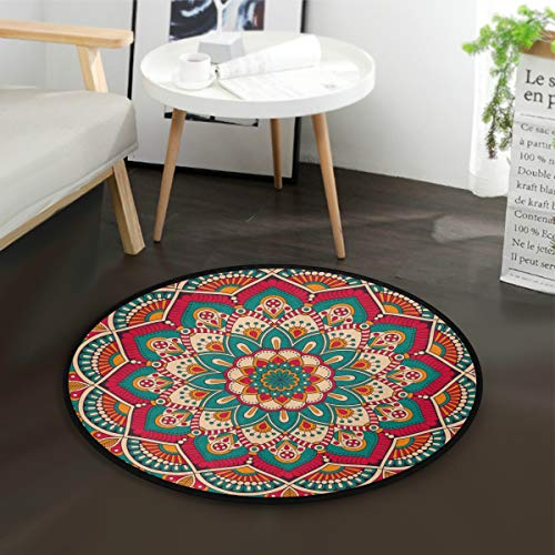Mnsruu Alfombra redonda con diseño de mandala, estilo tribal étnico, vintage, para sala de estar, dormitorio, 92 cm de diámetro