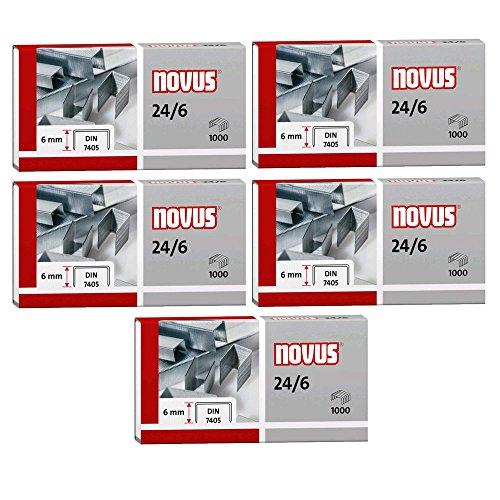 Novus Heftklammer 24/6, verzinkt, 1000 Stück (5er Spar-Pack)