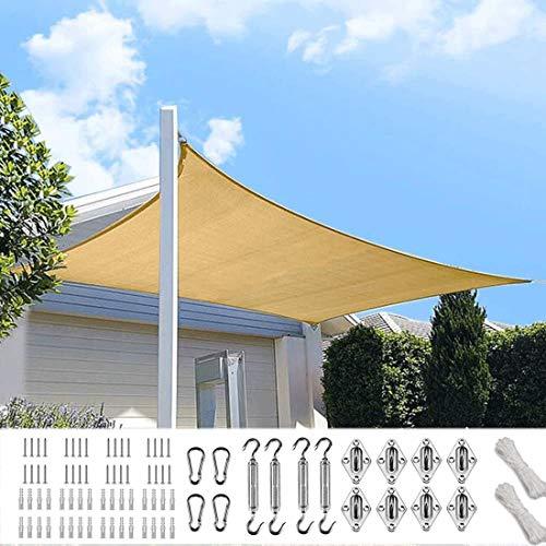 XXJF Toldo Vela De Sombra Rectangular Protección UV para PES , Resistente Desgarro Y,protección Patio Exteriores Jardín Exteriores, Jardín, (Color : Sand, tamaño : 3x6m)