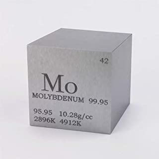 1 inch 25.4mm Molybdenum Metal Cube 99.95% 168g Engraved Periodic Table