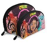EZYES Black Girl 2 Pcs Cosmetic Bags Travel Makeup Bag Portable Clutch Pouch Set African American Art Women Handbag with Zipper Shell Toiletry Storage For Women Waterproof