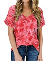 MIHOLL Women's Short Sleeve V-Neck Shirts Loose Casual Tee T-Shirt (A_ Red, Small)