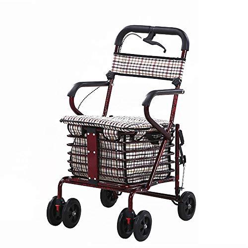 ZR Multifunktions-Lebensmittel einklappbare Einkaufswagen, Mehrzweckwagen, Roller-Helfer können sitzen und schieben klappbare Einkaufswagen Vier Rollstühle (Farbe : B)