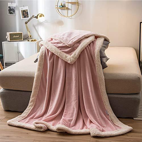 WZHFLY Soft Flanell Decke KüNstliche Lambskin Hemming Design Bett Auskleidungen Warme BettwäSche Geeignet FüR Verschiedene Zwecke,Pink-180 * 200cm