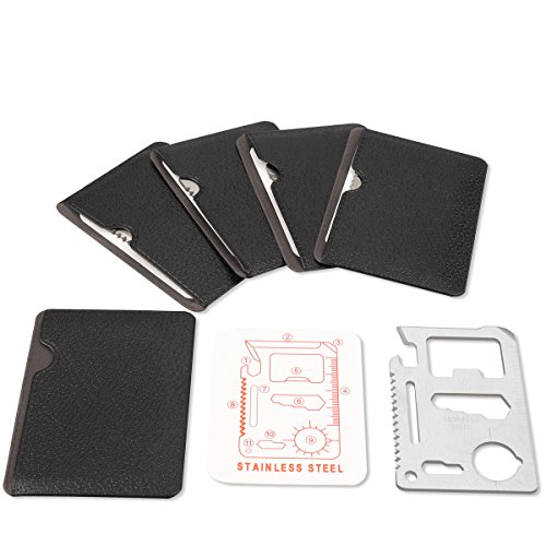 Stainless Steel 11 in 1 Beer Opener Survival Card Tool Fits Perfect in Your Wallet (5 pack)