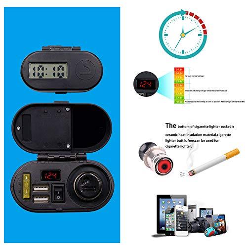 lzndeal Chargeur de voiture Multifonction moto étanche USB chargeur prise allume-cigare allume-cigare allume-cigare