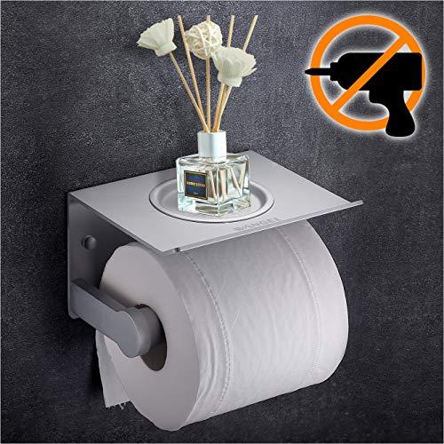 Wangel Toilettenpapierhalter mit Regal ohne Bohren, Patentierter Kleber + Klebestreifen, Aluminum, Matte Finish