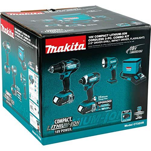 Makita CT320R 18V LXT Lithium-Ion Compact Cordless 3-Pc. Combo Kit (2.0Ah)