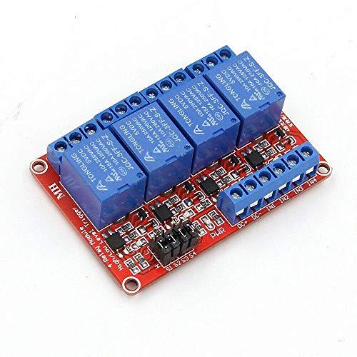 4-Kanal-Relaismodul, 5-V-Relaismodul für Trigger-Erweiterungsplatine mit niedrigem Pegel und Optokoppler für Raspberry PI (1 Stück)