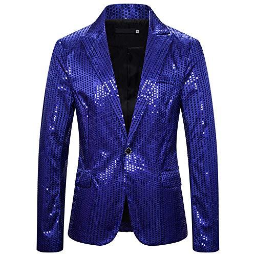 XLDD Traje para hombre, vestido de fiesta, elegante para cena, esmoquin chaqueta, para boda, Halloween, cosplay, esmoquin con lentejuelas, traje de un solo botón, elegante y encantador blazer