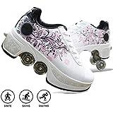 LRZ 2 in 1 Deformation Roller Schuhe Rollschuhe Studenten Roller Turnschuhe Rädern Laufschuhe Sneakers Rollen Skate Shoes Skateboard Schuhe Skating Outdoor Sportschuhe Für Erwachsene,34