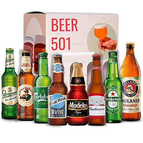 Cervezas del mundo degustación BEER 501 : Modelo, Budweiser, Heineken, Birra Moneti, Staroplamen, Paulaner, Carlberg, Blue Moon I Ideas para regalar - Cervezas Internacionales de importacion
