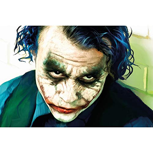 GREAT ART® XXL Poster – Joker – Wandbild Dekoration Heath Ledger Batman The Dark Knight Clowns Film Gotham Bösewicht DC Comic DC Universe Wandposter Fotoposter Wanddeko Bild (140 x 100 cm)