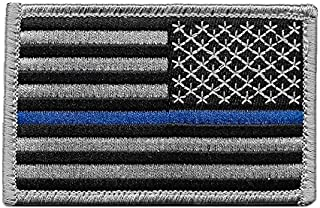 Reversed US Flag Thin Blue Line Patch for Police and Law Enforcement with Hook/Loop Backing