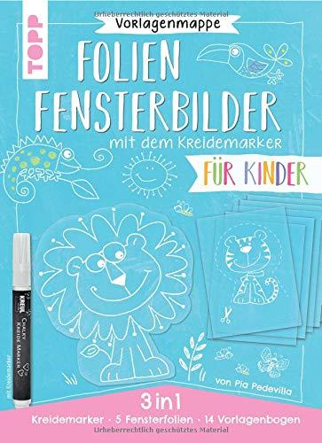 Vorlagenmappe 3 in 1 - Folien-Fensterbilder mit dem Kreidemarker - Für Kinder. Inkl. 5 Fensterfolien zum Bemalen und Ausschneiden und Original ... Kreul. Mit allen Motiven auch als Download.