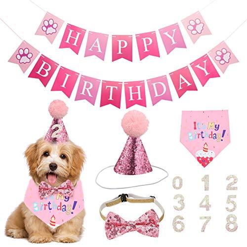 FANTESI 5 Stücke Hund Geburtstag Bandana Hund Geburtstag Hut, Happy Birthday Banner und Bowknot und Geburtstagskarte für Hund Geburtstag Party-Dekorationen(Rosa)