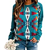 Western Shirt for Women, Western Style Color Block Geometric Pattern Printed Long Sleeve Thin Sweatshirt Pullover Top-Blue-XL