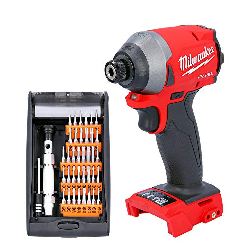 Milwaukee M18FID2 18V Fuel Impact Driver with 38 Pieces Multi-Purpose Screwdriver Bits Set