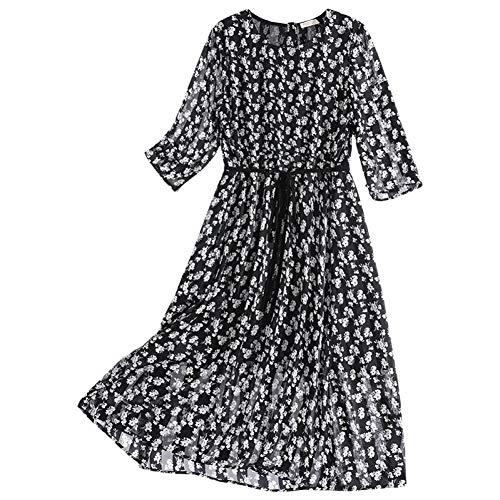 BINGQZ Cocktail Jurken Gedrukte rok vrouwelijke zomer mode koude wind zwart en wit bloemen hoge koude temperament een woord jurk lang