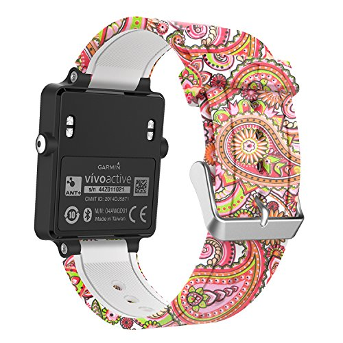 MoKo Band Compatible with Garmin Vivoactive, Soft Silicone Replacement Fitness Bands Wristbands with Metal Clasps fit Vivoactive/Vivoactive Acetate Sports GPS Smart Watch - Daisy Totem