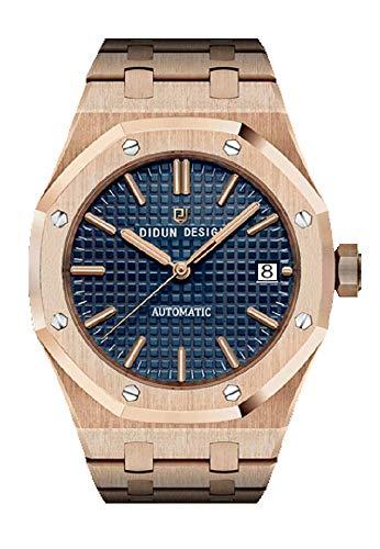 Sportlich Elegante Herren Automatik Uhr, Saphirglas, massives Armband, Miyota Uhrwerk, Didun Royal One Farbe: Rosegold/Blau