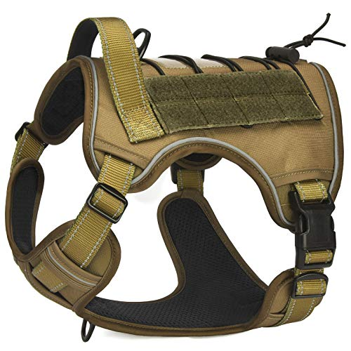 CBBPET Tactical Dog Harness for Large Medium Dogs No Pull& Sturdy Handle,Breathable Reflective Military Dog Harness for Training Walking Hunting,Neck:16.9-22.8,Chest: 21.6-31.4.