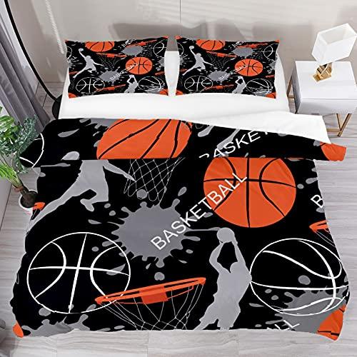 Juego de funda de edredón King Basketball Sports Ball 3 piezas, funda de edredón y funda de edredón, 2 fundas de almohada, 1 funda de edredón