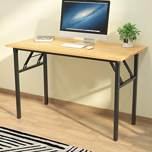 sogesfurniture Mesa Escritorio Plegable,120x60 cm Mesa de Ordenador Escritorio de Computadora Mesa de Estudio Mesa de Trabajo Plegable para Hogar Oficina, Teca&Negro BHEU-LP-AC5YB-120
