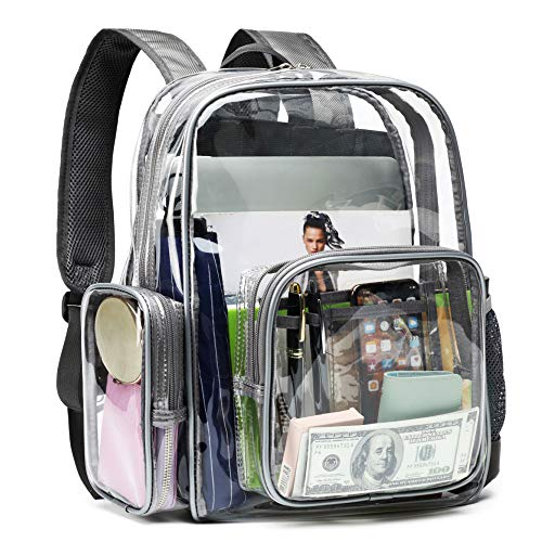 Clear Backpack, F-color Heavy Duty Large Clear Bag Reinforced Straps, With Waterproof Oxford Fabric Transparent Backpack for Adults, Girls, Boys, School, Security, Stadium, Work, Travel, Grey