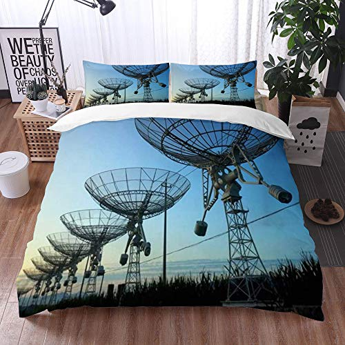 Yuxiang Bedding Sets Duvet Cover Set, Observatory Evening Signal Silhouette Antenna Radio Telescope Industrial Nebula,3-Piece Comforter Cover Set 240 x 260 cm +2 Pillowcases 50 * 80cm