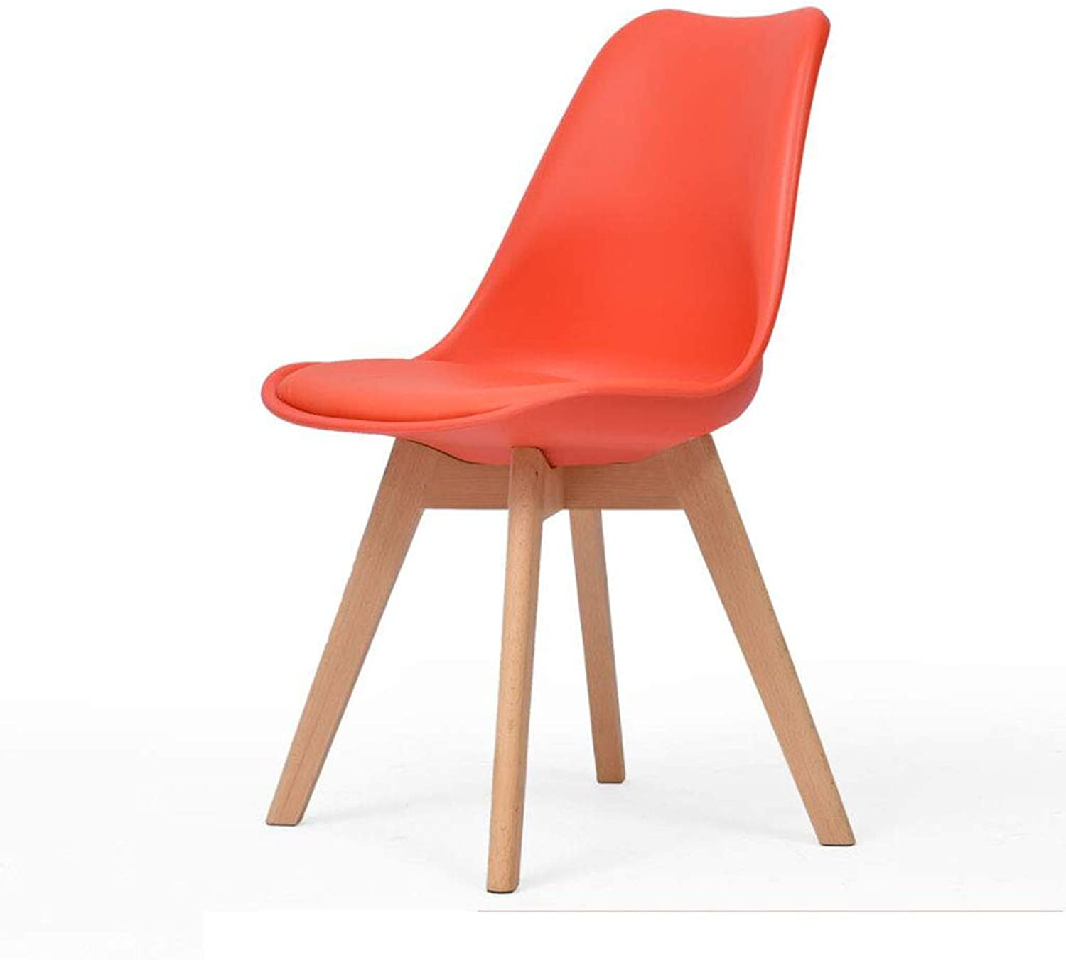Solid Wood Chair Plastic Desk Chair Simple Modern backrest Dining Chair Nordic Office Creative Chair [Multiple colors, 83cm],red