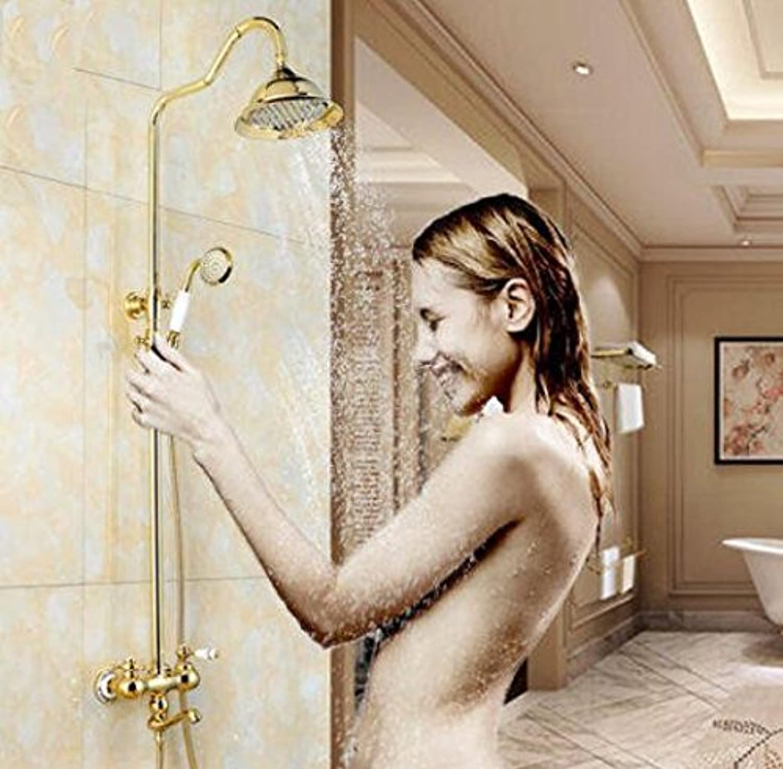 Bijjaladeva Wasserhahn Bad Wasserfall Mischbatterie Waschbecken Waschtisch Armatur für BadezimmerDas Kupfer Dusche Dusche, Warmes und Kaltes Taps verGoldete Hand-