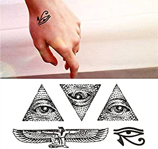 Oottati Small Cute Temporary Tattoo God Eye Horus Egypt (2 Sheets)