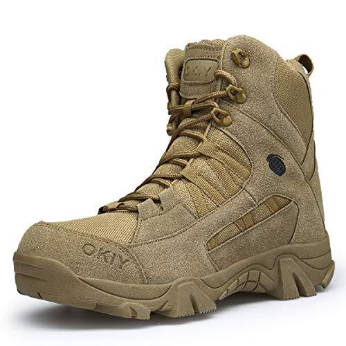 AONEGOLD Hombres Botas de Senderismo Zapatos de Trekking Botas Tácticas Transpirables Militar Senderismo Zapatos Botas de Invierno(Marrón,41 EU)