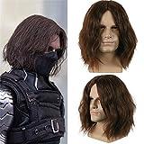 Junww Cool Captain America Civil War Winter Soldier Bucky Barnes Cosplay Dark Brown Wigs Party Halloween Hair Toupee with Hairnet