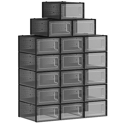 SONGMICS Boîtes à Chaussures, Lot de 18, Rangement Chaussures, Organisateur, Pliable, empilable, pour Pointure Jusqu'à 42, Transparent et Noir LSP006T18