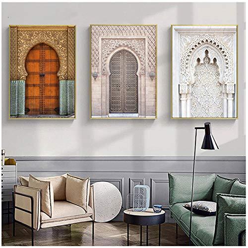wymhzp Marokkanische Tür Wandkunst Gold Arabisch Kalligraphie Leinwand Gemälde Islamische Architektur Poster Leinwand Druck Wandbilder Dekor Kein Rahmen-3pcs_50x70cm