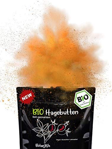 Bio Hagebuttenpulver 1kg, Premium |Reich an natürlichen Vit. A, E,C & Ca, Mg - Laborgepüft |Für die normale Knochen- & Muskelfunktion | Rohkost |100% reines Superfood, fein gemahlen, BotaniKils