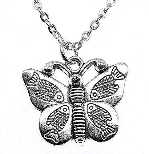 niuziyanfa Co.,ltd Necklace Jewelry Necklace for Women Antique Silver Color Fish Wings Butterfly Pendants Female Necklace Gift Fashion