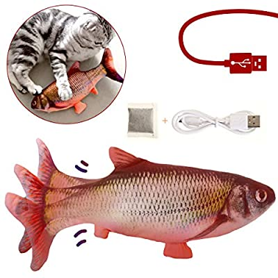 CHARMINER Cat Toys Fish, Moving Fish Cat Toy, Cat Fish Toys for Indoor Cats, Cat Toys for Cat Exercise (Red)