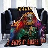 Guns N' Roses Flannel Throw Blanket Soft Throw Blanket Lightweight Cozy Air Conditioner Blanket Shaggy Fleece Blanket Digital Print for Couch Bed 60'X50'