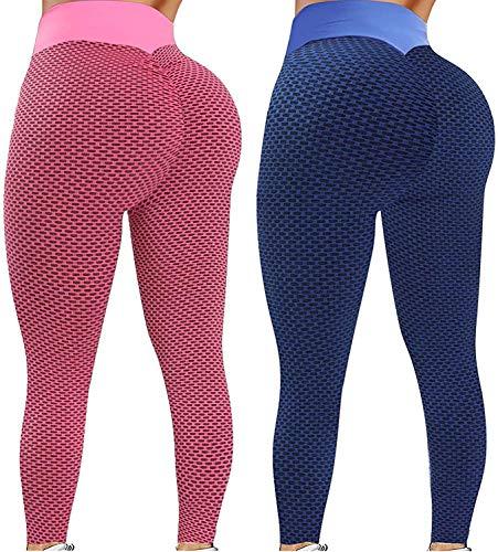 2 leggings de cintura alta para mujer, pantalones de yoga sin costuras, leggings de entrenamiento, leggings de entrenamiento, Morado (, L