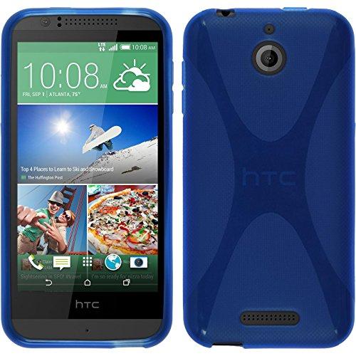 PhoneNatic Hülle kompatibel mit HTC Desire 510 - blau Silikon Hülle X-Style + 2 Schutzfolien