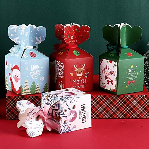 Scatole regalo piegate natalizie Confezione da 16 confezioni regalo di caramelle alla frutta Sacchetti con nastro per feste di Natale e confezioni regalo