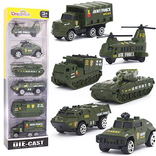 Dreamon Spielzeugautos Militär Fahrzeuge Spielzeug Set Mini Cars Modelle aus Metalllegierung für Kinder ab 3 Jahren,6 Pcs